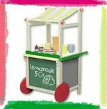 A drawing of a lemonade stand with red wheels and a shade. There's a sign on the front with a drawing of a lemon saying 'lemonade 50c'.